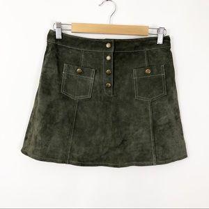 ASOS Suede Button Front Sailor Pocket Skirt